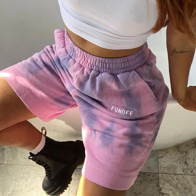 Summer Cotton Printed Tie-dyed Elastic Baggy Women Sweat Shorts Letter Jogger Female Sport Tracksuit Casual Short Pants Capris