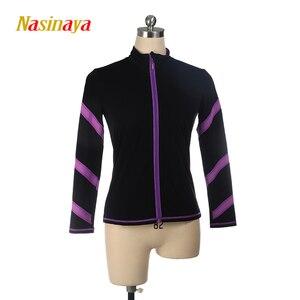Image 5 - Dostosowane łyżwiarstwo figurowe kurtka zapinana na zamek topy dla dziewczyny kobiety konkurs treningowy Patinaje łyżwiarstwo ciepłe polary gimnastyka 3