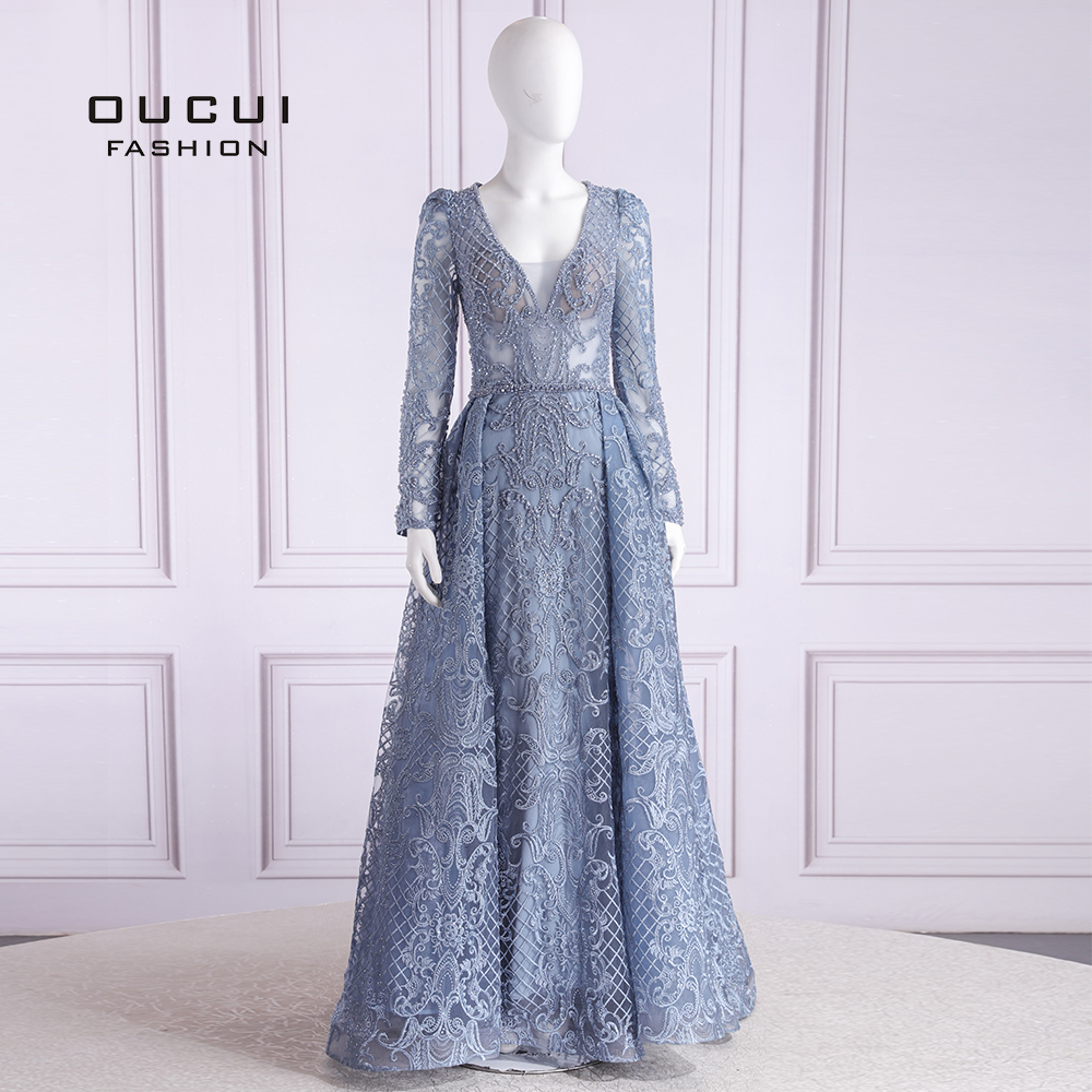 Dubai Luxury Plus Size Sexy Long Evening Dresses 2019 Flowers Beading Long Sleeves Vintage V-Neck Evening Gowns OL103633