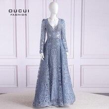 فستان سهرة طويل ومثير من Oucui Real Photo Dubai فاخر متوفر بمقاس كبير ومزين بالخرز وأكمام طويلة وياقة على شكل حرف v فساتين سهرة رسمية OL103633
