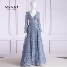 Oucui robe de soirée longue, Sexy, luxueuse tenue de soirée, grande taille, manches longues, col en v, Vintage, manches longues, style dubaï, OL103633