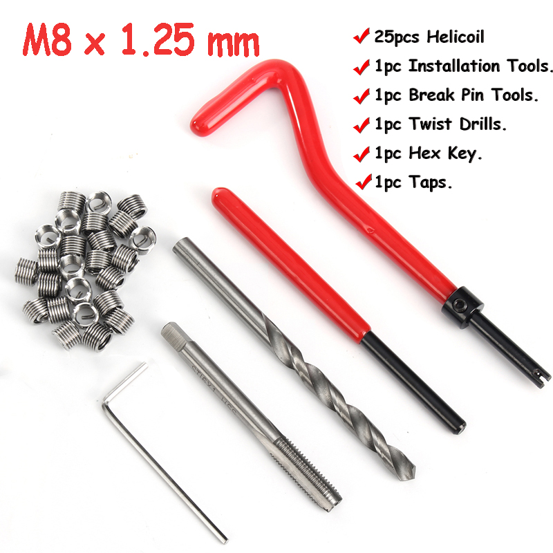 30 Pcs Car Helicoil M8*1.25mm Stainless Steel Helicoil Pro Coil Drill Tool Car Thread Repair Kit