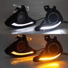 1 Set DRL For Mazda 2 Mazda2 Demio 2015 2016 2017 LED DRL Daytime Running Lights Daylight Fog light cover yellow signal