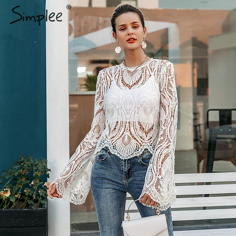 Simplee Sexy Hollow Out Lace Embroidery Women Blouse Shirt Elegant Flare Sleeve Female Party Shirt Transparent Ladies Top Shirt