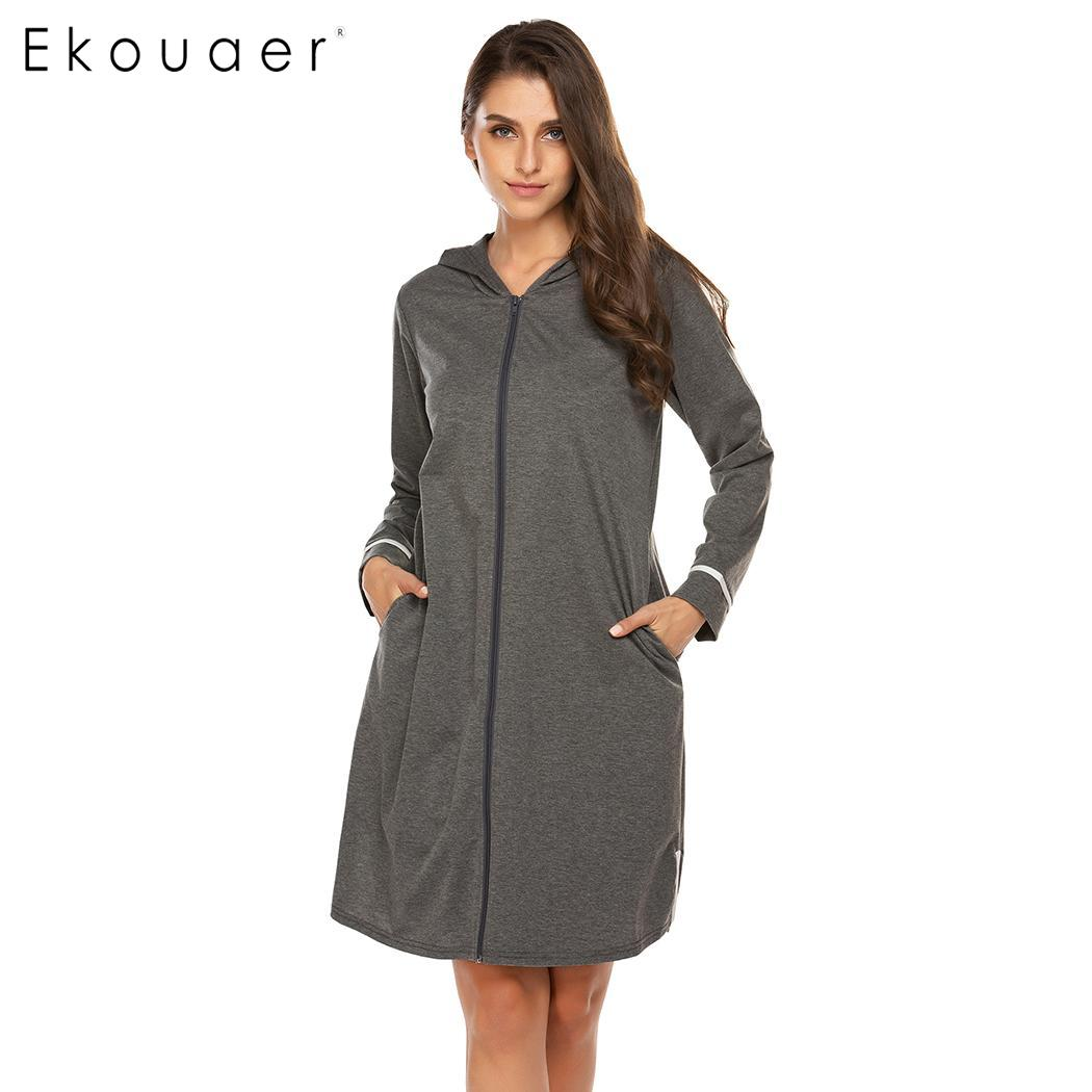 Ekouaer Women Hooded Robe Spring Autumn Sleepwear O-Neck Long Sleeve Loose Pockets Zipper Bathrobes Dressing Gown Nightwear