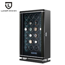 Automatyczne luksusowe 24 gniazda pokrętło zegarka akcesoria do pudełek zegarek wyświetlacz mechaniczny obrotowy zegarek Uhrenbeweger dla mężczyzn zegarek tanie tanio LUNDA CN (pochodzenie) Pudełka do zegarków Moda casual 5205 Plac 59inch 21inch Drewna 35inch Mieszane materiały black