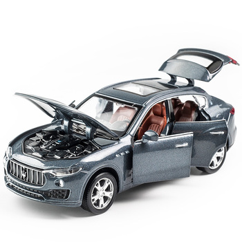 1:32 Scale Maserati Levante Diecast Car Metal Model Sound And Light Pull Back SUV 7 Doors Can Be Opened For Kids Gifts Boy Toys image