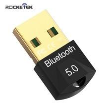 Rocketek usb bluetooth dongle adaptador 5.0 para computador computador falante sem fio mouse bluetooth música receptor de áudio transmissor aptx