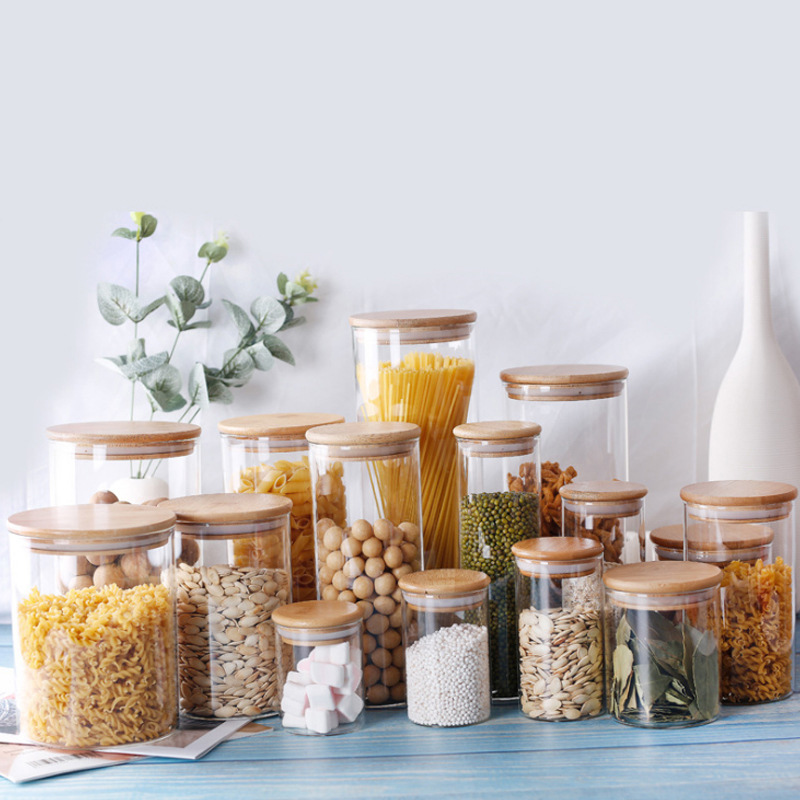 Storage Tank Food Container Bamboo Covered High Borosilicate Food Sealed Glass Tank Kitchen Miscellaneous Grain Storage Tank