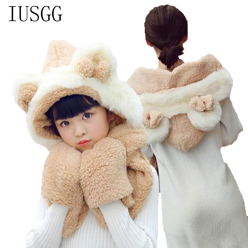 Multi Functional Hat Scarf Gloves Set Female Kids Earmuffs Suit Accessory Double Plush Warm And Comfortable Christmas Gift