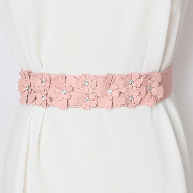 2020 Fashion New Design Belts For Women Solid Black Flower PU Leather Wide Belt Hot Sale Female Stylish Elastic Waistband ZK789