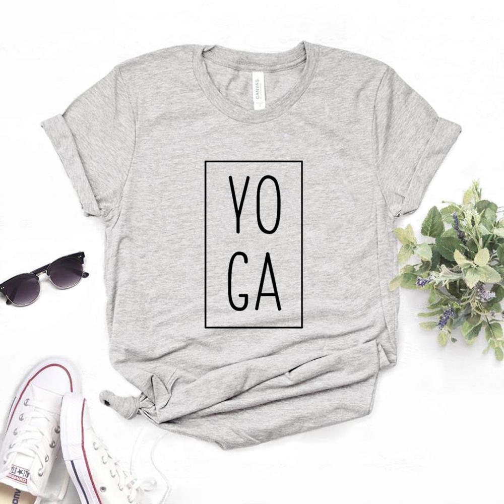 Женская футболка с квадратным принтом для йоги, хлопковая Повседневная футболка с забавным принтом для девушек, хипстерский Топ, 6 цветов, для девочек и женщин|Футболки| | АлиЭкспресс