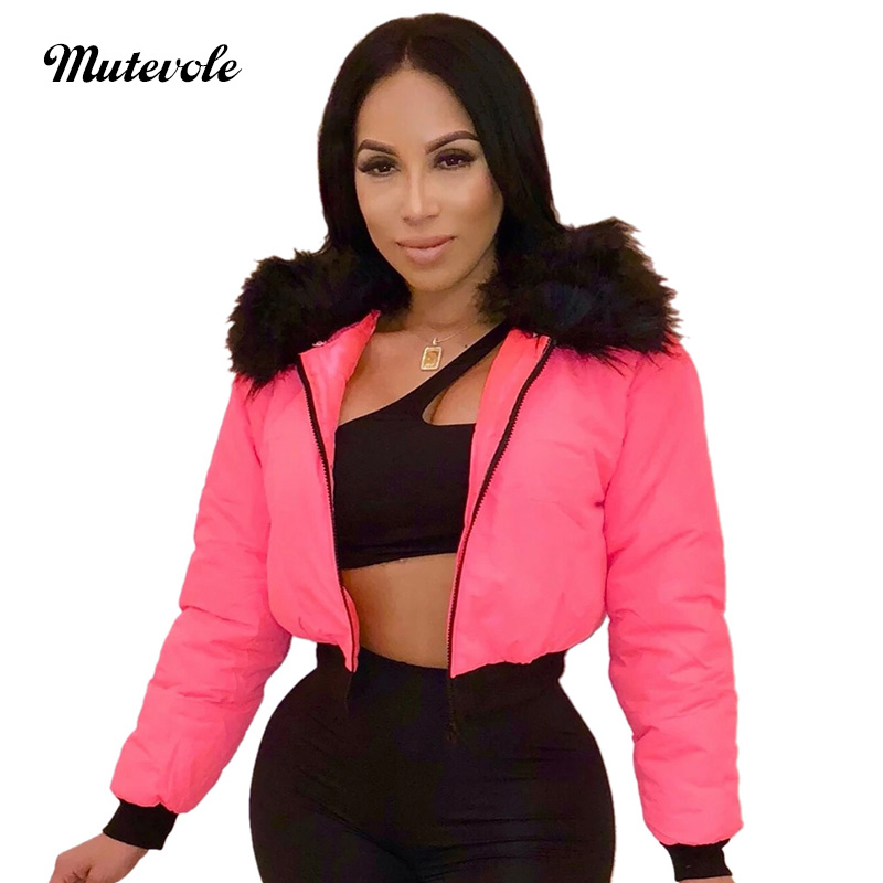 Mutevole Autumn Winter Crop Bomber Jacket Outwears Women Turn Down Collar Patchwork Fur Coat Long Sleeve Zipper Warm Coat Jacket