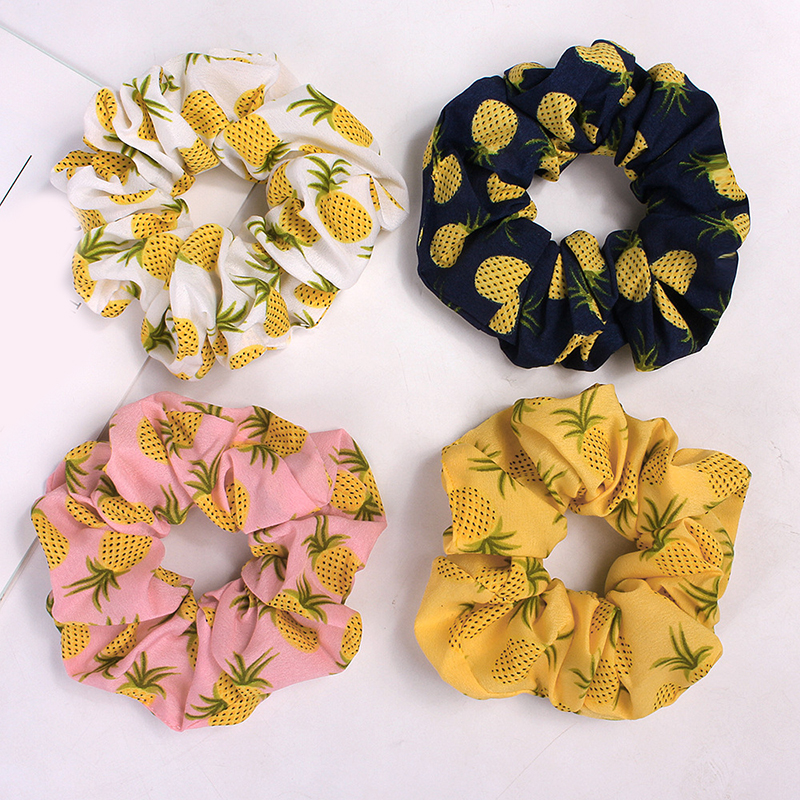 Korean Women Hearwear Girls Hair Tie Elastic Hair Bands Lady Scrunchies Ponytail Holder Rope Pineapple Print Hair Accessories