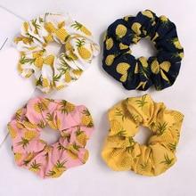 Korean Women Hearwear Girls Hair Tie Elastic Hair Bands Lady Scrunchies Ponytail Holder Rope Pineapple Print Hair Accessories-in Women's Hair Accessories from Apparel Accessories on AliExpress