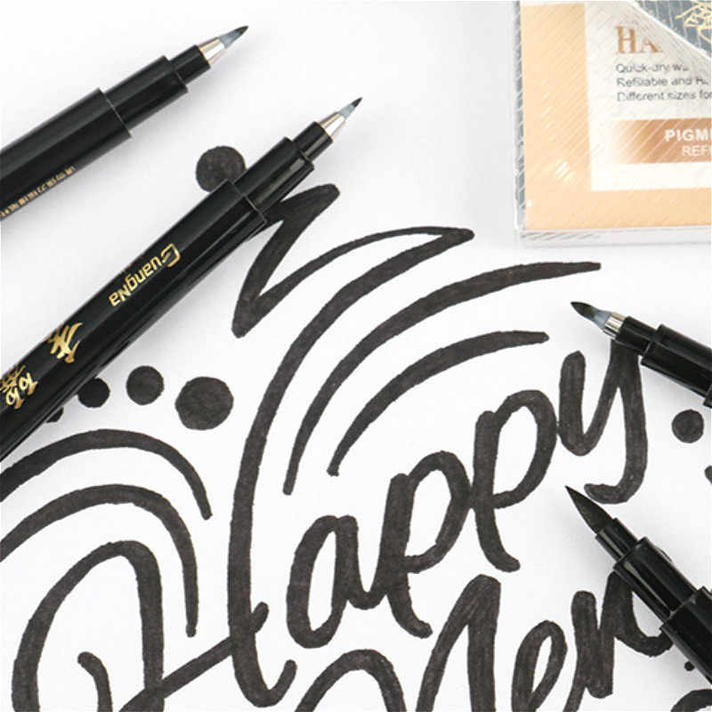Kaliteli yeni kaligrafi kalemi seti güzel astar ucu orta fırça kalemler İmza çizim el yazı okul albümü sanat malzemeleri