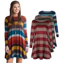 Suit Dresses For Women Short Skirt Stripe Dress Warm Long Sleeved Women Loose Dress Big Size Casual Vestido O-Neck With Pockets цены