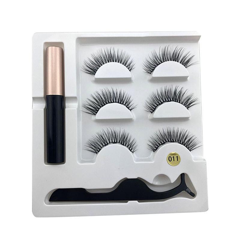 Magnet False Eyelash Eyeliner Liquid Magnetic 3d Faux Mink Eyelash Set Tweezers + Eyeliner + 3 Pairs Of Eyelashes Set Waterproof