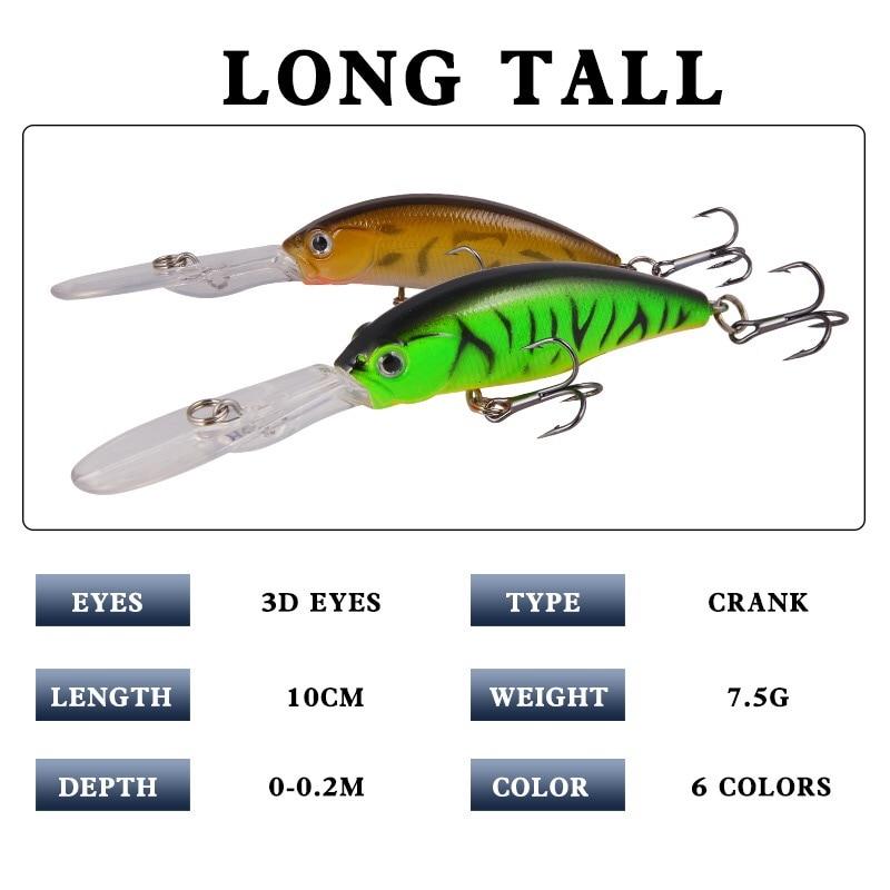 Minnow Fishing Lure 3D Eyes 10cm 7g Wobbler Bass Pike Baits Spinner Baits C/_yk