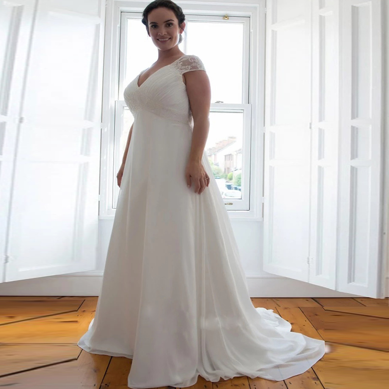 Elegant V-neck Cap Sleeves Plus Size Wedding Dress Beaded Empire Waist Boho Chiffon Bridal Gown Customized