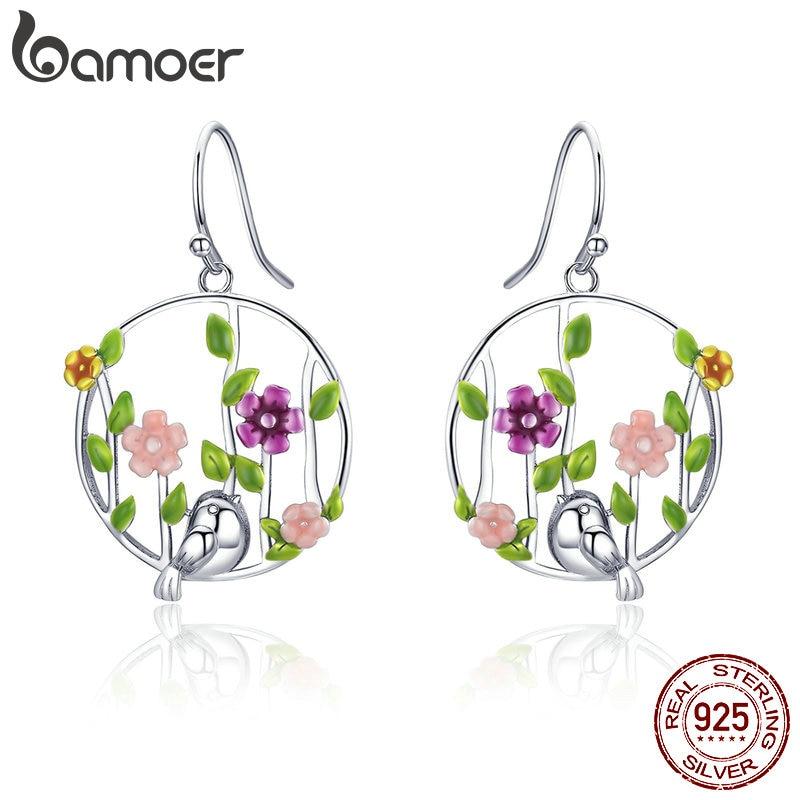 BAMOER Genuine 925 Sterling Silver Blooming Forest Birds Secret Drop Earrings for Women Sterling Silver Earrings Jewelry SCE480