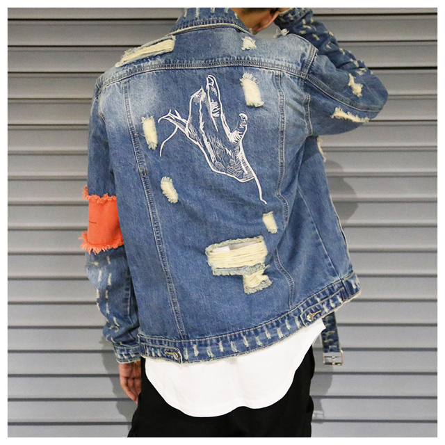 Hip Hop Men Jeans Jacket Coat Hole Patchwork Long Sleeve Hi Street Mens Jackets 2020 Autumn Washed Ribbon Male Streetwear Coats
