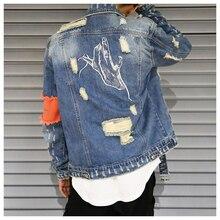 Hip Hop mężczyźni dżinsowa kurtka płaszcz dziura Patchwork z długim rękawem Hi Street męskie kurtki 2020 jesień myte wstążki męskie Streetwear płaszcze