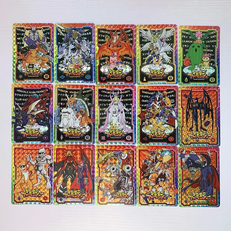 15pcs/set Digimon Digital Monster Mega Evolution No Original Toys Hobbies Hobby Collectibles Game Collection Anime Cards