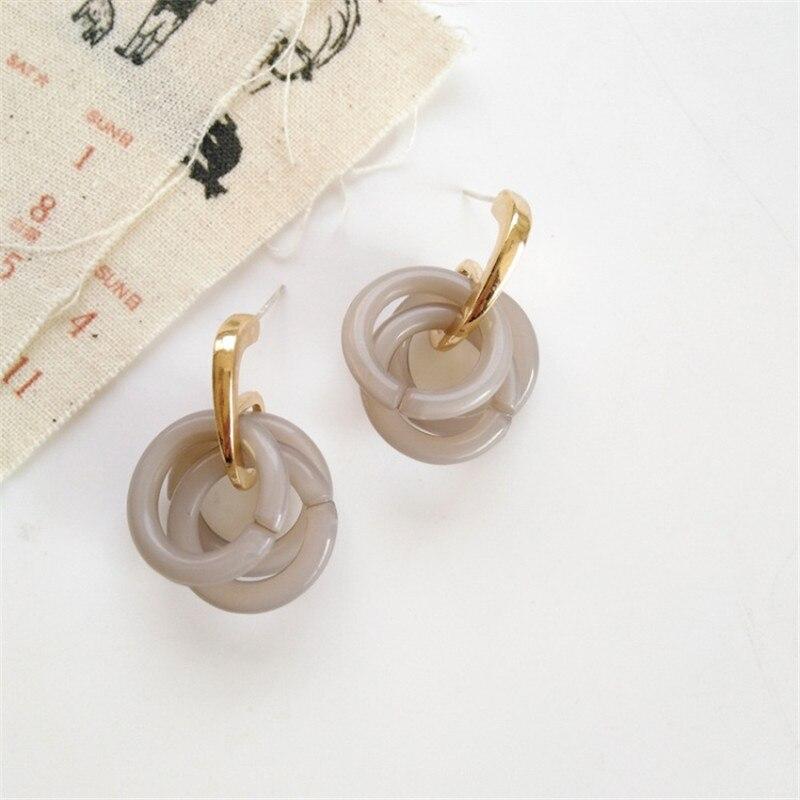 Jewelry Acrylic Resin Geometric Dangle Earrings For Women Big Circle Drop Earrings Fashion Brincos Birthday Gift