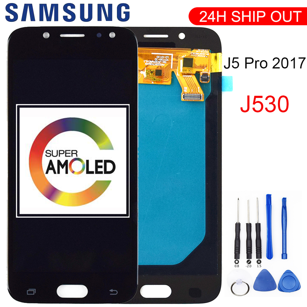 Super AMOLED <font><b>LCD</b></font> For SAMSUNG Galaxy <font><b>J5</b></font> <font><b>Pro</b></font> 2017 J530 J530F J530FM SM-J530F J530G/DS <font><b>LCD</b></font> Display Touch Screen Digitizer Assembly image