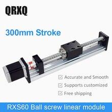 300mmStroke Electric Mobile Sliding Table module Rail Ballscrew Slide Cross Linear Stage guide platform CNC
