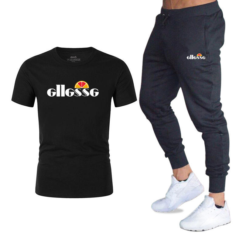 Summer New Men's Print Tracksuit Casual Sets Men Cotton Sports Suit T-Shirt+pants 2 Piece Sets Brand Sportswear Slim Outfits