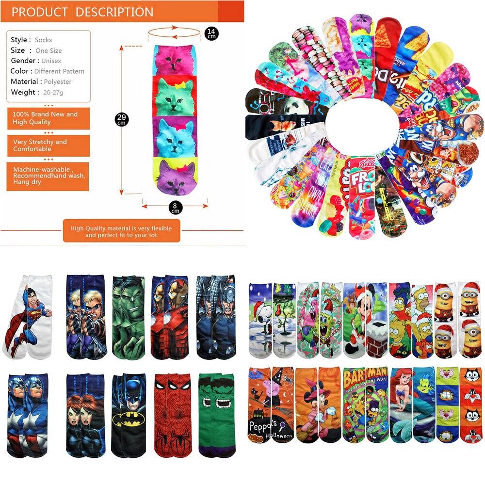 3D Art Socks For Ladies One-side Printing Famous Cartoon Characters Low Cut Women Ankle Sox Harajuku Hip Hop Novelty Socks