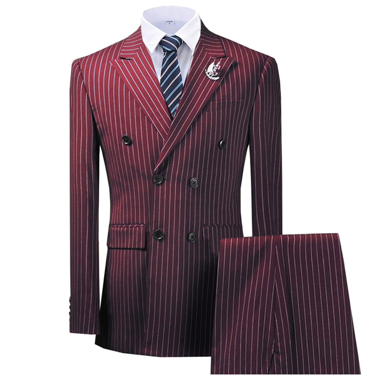 Double Breasted Peak Lapel Stripes Burgundy Blazer Two Pieces Mens Suit with Pants Formal Navy Jacket For Wedding Groom Tuxedos