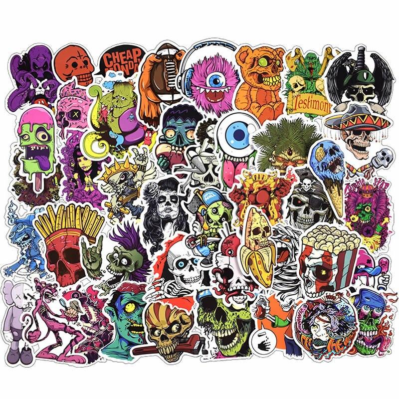 10/30/50pcs Pack Cartoon Horror Skull Stickers Waterproof PVC Hydroflask Skateboard Luggage Motorcycle Funny Stickers Kids Toys