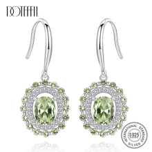 DOTEFFIL Olive Green Topaz Diamond Real 100% 925 Solid Silver  Drop Earrings For Women Gift Vintage Fashion Wedding Fine Jewelry