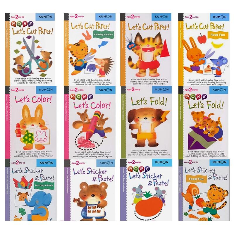 12 Pcs/Set Kumon Let's Cut Paper First Step Workbooks Picture Books for Kids Children Origami Paper Cut Sticker Handmade Books