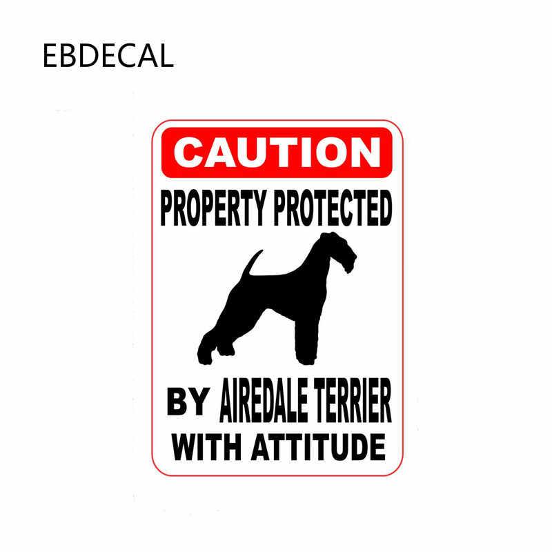 Ebdécalque propriété protégée par AIREDALE TERRIER pour Auto voiture/pare-chocs/fenêtre/mur décalcomanie autocollant autocollants bricolage décor CT11035