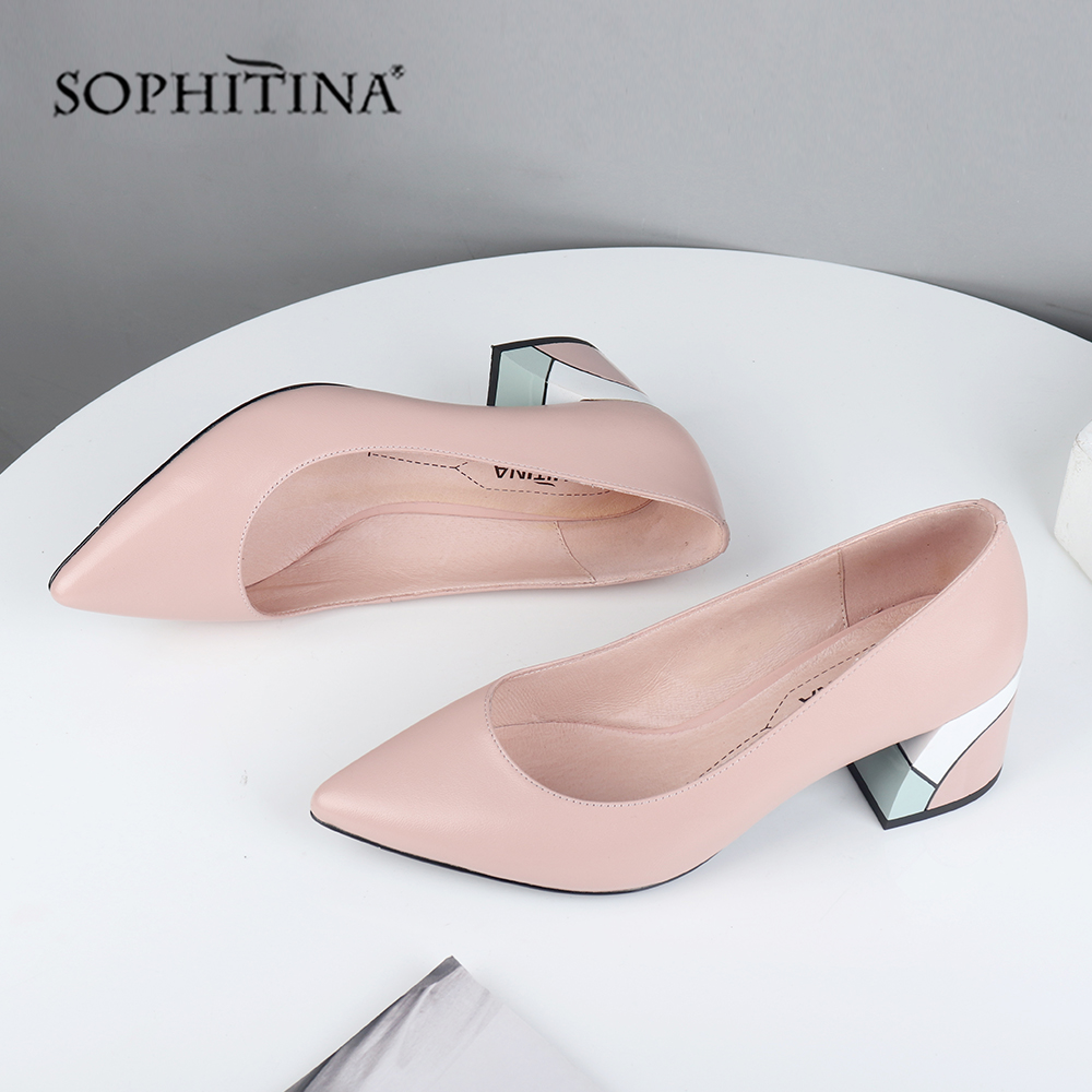 SOPHITINA Fashion Design Square Heel Pumps High Quality Genuine Leather Sexy Pointed Toe Soft Comfortable Handmade Slip-On Shallow New Shoes Elegant Mixed Colors Party  Women's Pumps MC565