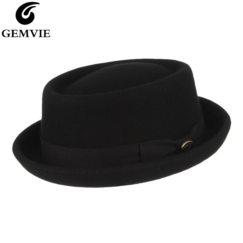 GEMVIE Men Women 100% Wool Felt Crushable Porkpie Fedora Hat Vintage Curved Brim Pork Pie Wool Hat Autumn Winter-in Men's Fedoras from Apparel Accessories
