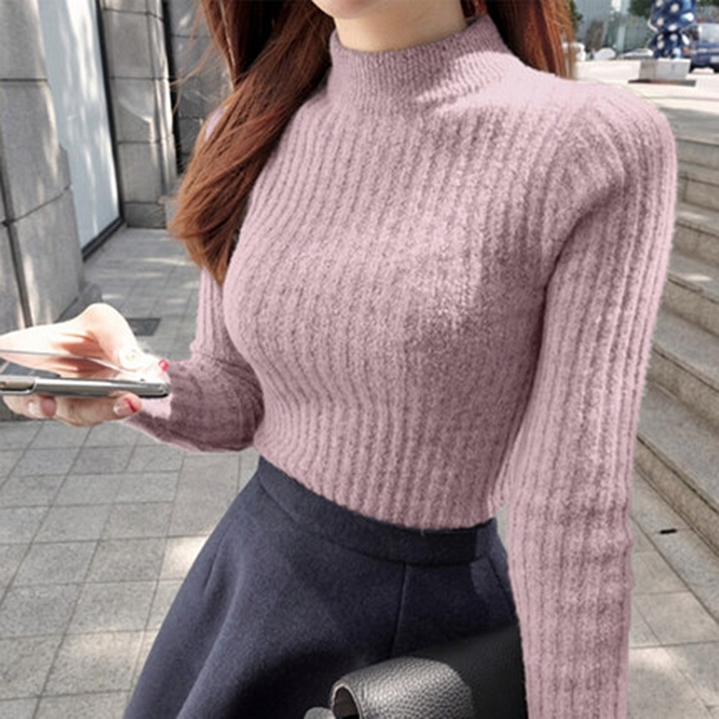 2019 New Sweater Shirt Sleeved Turtleneck Sweater Girl Warm Winter Slim Female Half Thick Half Turtleneck Female
