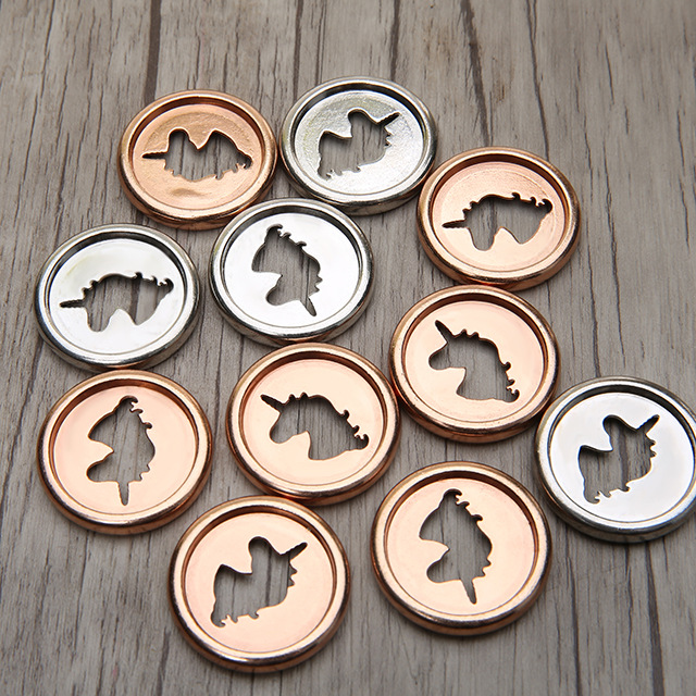 6pcs 28mm Alloy Notebook Mushroom Hole Button Loose-leaf Coil 360 Degree Flip Disc Buckle Unicorn Metal Ring Ring Binder