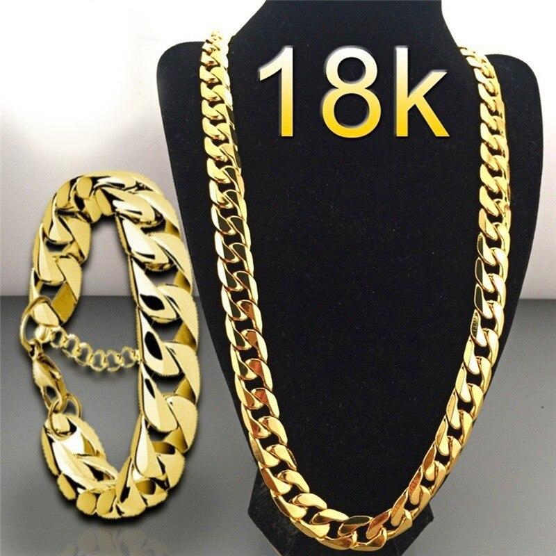 Панк 18 K кубинская цепь золотое ожерелье для мужчин женщин 45/50/55/60/65/70/75 см Ссылка Снаряженная Цепочки ожерелья для женщин, модное ювелирное и...