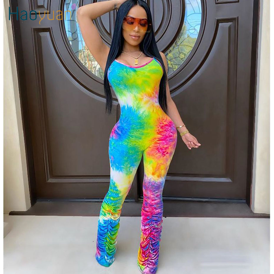 HAOYUAN Sexy Rainbow Tie Dye Rompers Women Jumpsuit One Peice Club Outfits Ruched Pant Spaghetti Strap Bodycon Backless Overalls