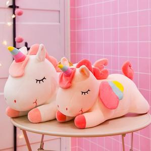 Специальная цена 25-100 см Гигантский Размер единорог плюшевые игрушки мягкие Мультяшные игрушечные единороги животное лошадь для Прямая пос...