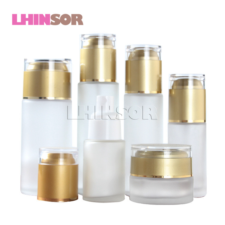 5pcs/lot Frosted Glass Lotion <font><b>Bottle</b></font> Cream Jar <font><b>Spray</b></font> <font><b>Bottles</b></font> Press Pump with Gold Acrylic Lid Cosmetic Set Packaging Container image