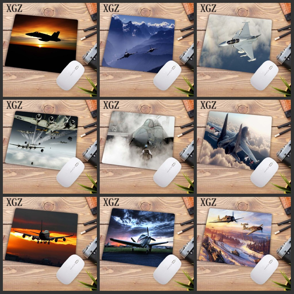 XGZ  Airplane Sunrise Aircraft Plane Gamer Speed Mice Retail Small Rubber Mousepad Size For 18x22cm Mousepad Desk Mat Promotion