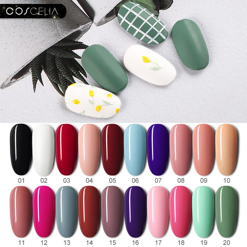 COSCELIA 8ML Gel Polish Set UV Gel Nail Varnish Semi Permanent Base Top Coat Varnish Nail Art Manicure Gel Nail Polish Nails