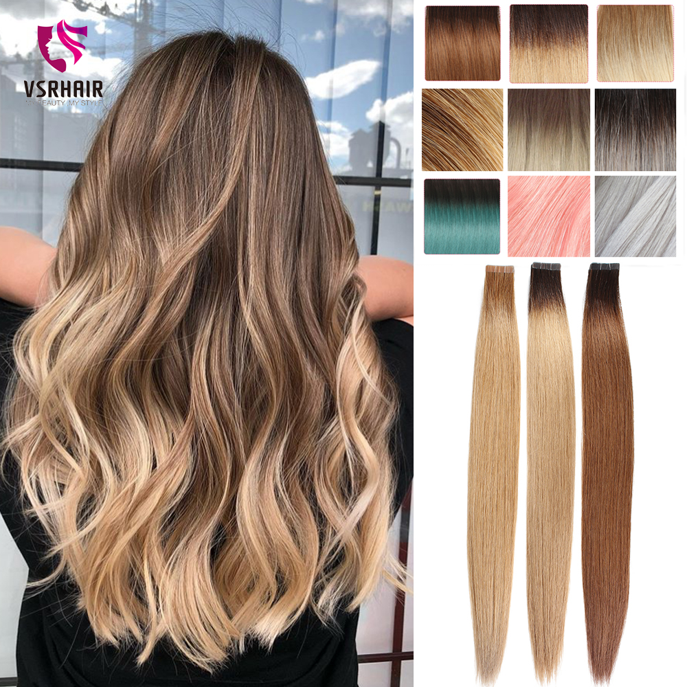 VSR 100% Pure Remy Hair Tape Extensions Premium Quality Fast Shipment Skin Weft Seamless Hair Extensions