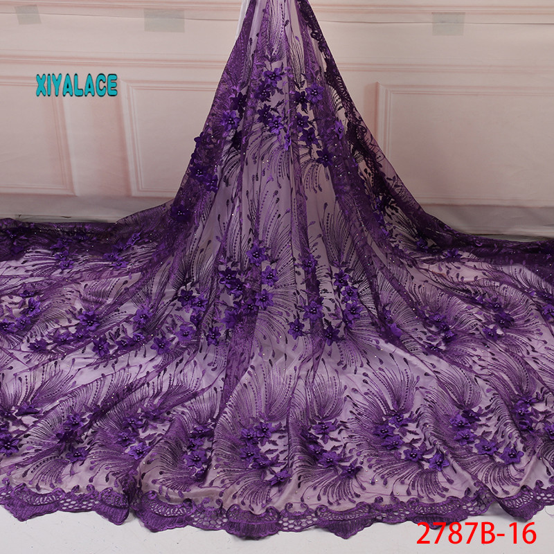 African Lace Fabric 2019 Hot Sale Tulle Lace Fabric High Quality 3d French Lace Fabric Embroidery Tulle Lace Fabric YA2787B-16